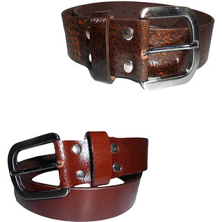 Psychovest Lion Graph and dotted Brown Belt Combo made of Genuine Leather