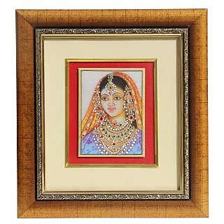 HANDICRAFTS PARADISE MARBLE WALL DCOR LADY FIGURE PAINTING FRAMED HPMR15018