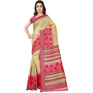 Florence Mustard  Pink Printed Bhagalpuri Silk Saree with Blouse (FL-11033)