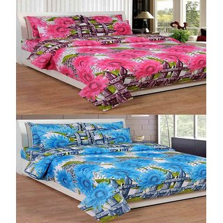Shiv Shankar Handloom Multi Color 2 Bad Sheet With 4 Pillow Cover