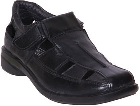 Austrich Black Leather Sandal For Men