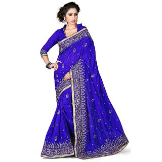 SuratTex Blue Art Silk Embroidered Saree With Blouse