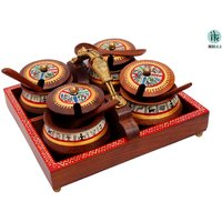 Indikala Tray With Masai Woman Handle And Set Of 4 Wooden Bowls With Spoons