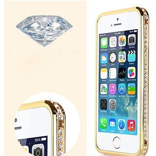 Golden Diamond Encrusted Removable Metal Golden Bumper Frame for iPhone 5 5S