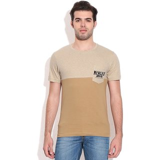 John Players Brown Cotton Round Neck T-Shirt