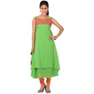 Solty Green Anarkali Regular Sleeveless Round Neck Ethnic Womens Kurti