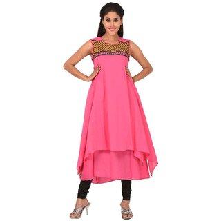 Solty Pink Anarkali Regular Sleeveless Round Neck Ethnic Womens Kurti