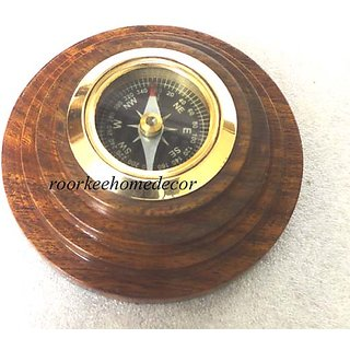 Nautical Brass  Wood Nautical COMPASS