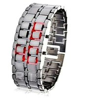 Unisex Black Samurai Steel Bracelet-Cum-Digital Watch With Red LED Display