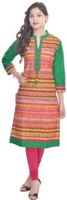 Neel Women's Formal Chinese Neck A-line 3/4 sleeve Green And Brown Cotton Kurta