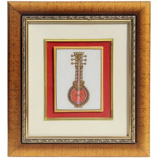 HANDICRAFTS PARADISE MARBLE WALL DCOR MUSICAL INSTRUMENT PAINTING FRAMED HPMR15