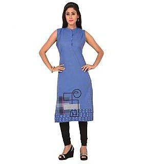 Solty Blue A-Line Regular Sleeveless Round Neck Ethnic Womens Kurti