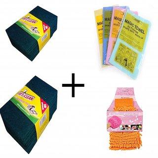 Jet Clean Large Scrub Pad(20pc)+Magic Towel M106(4pcs) +Microfibre Glove Duster