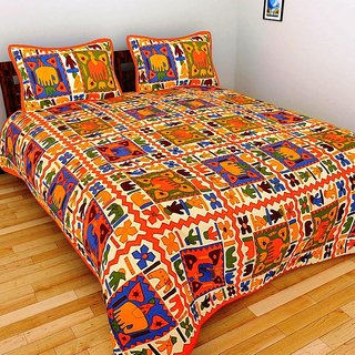 GRJ India Pure Cotton Multi Colour Double BedSheet With 2 Pillow Covers