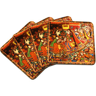 Madhubani Painting Metal Coaster