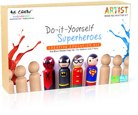 Be cre8v diy hobby kits price buy be cre8v diy hobby kits online be creative super hero wooden peg painting kit solutioingenieria Choice Image
