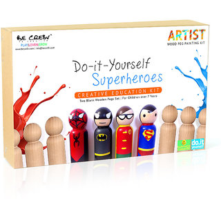 Be Creative Super Hero Wooden Peg Painting Kit