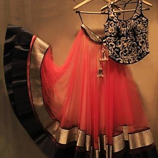 Valentine Special Gorgeous Red  black Lehngas By Only Fashion