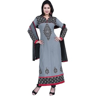 Surat Tex Grey Color  Embroidered Pure Georgette Semi-Stitched Salwar Suit