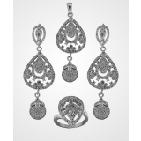 Treasure Studded Sterling Silver Jewellery Set 3sw15805a4
