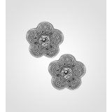 Sterling Silver Flower Earings With Solitaires 3sw15814a9