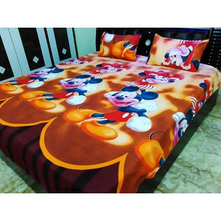 Beautiful Kids Special MickeyMouse Double Bedsheet With 2 Pillow Covers
