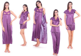 Fasense Purple Satin Plain Nightwear Sets (Pack Of 5)