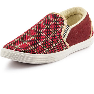 PAN Men Maroon Slip on casual shoes