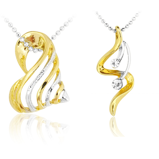 Set of two designer gold and silver pendants