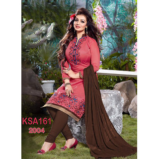 King Sales New Arrival Ayesha Takia Fancy Pink and Brown Chanderi Suits (Unstitched)
