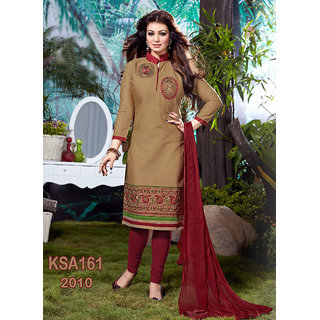 King Sales New Arrival Ayesha Takia Beautiful Beige Cotton Embroidered Suit (Unstitched)