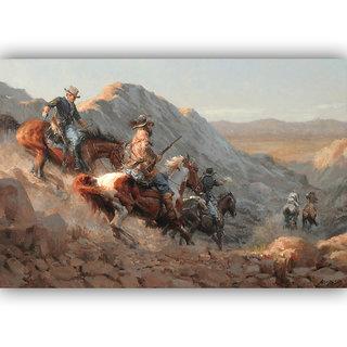 Vitalwalls Portrait Painting Canvas Art Print.Western-354-30cm