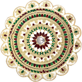 Shreeng Handicraft Flower Shaped Golden White Meena Dry Fruit/ Multipurpose Box  (20cmX20cmX4cm)