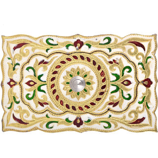 Shreeng Handicraft Chocolate Shaped Golden White Meena Dry Fruit/ Multipurpose Box  (13cmX20cmX4cm)