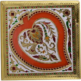 Shreeng Handicraft 9x9 Golden White Meena Dry Fruit/ Multipurpose Box  (23cmX23cmX6cm)