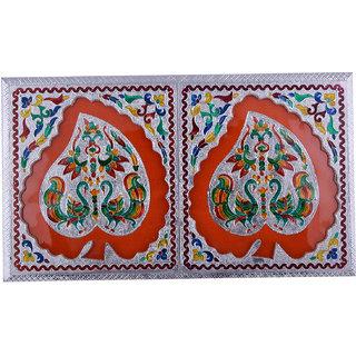 Shreeng Handicraft 10x17 Silver Meena Dry Fruit/ Multipurpose Box  (23cmX43cmX5cm)