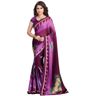 FineFab Violet Satin Chiffon Casual Wear Printed Sarees With Blouse Piece