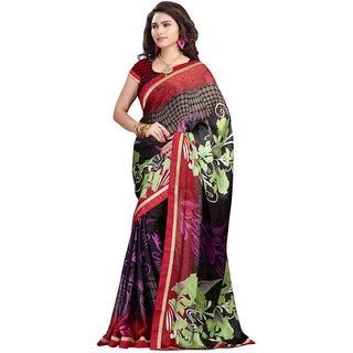 FineFab Multicolor Satin Chiffon Casual Wear Printed Sarees With Blouse Piece