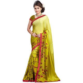FineFab Yellow Satin Chiffon Casual Wear Printed Sarees With Blouse Piece