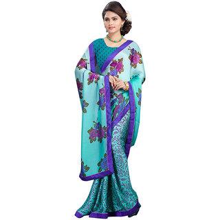 FineFab Blue Satin Chiffon Casual Wear Printed Sarees With Blouse Piece