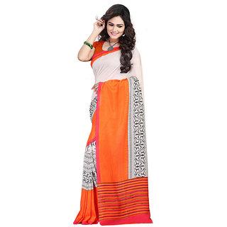 FineFab Orange Silk Crepe Casual Wear Embroidered Sarees With Blouse Piece
