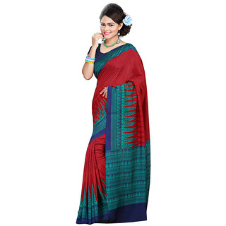 FineFab Maroon Silk Crepe Casual Wear Embroidered Sarees With Blouse Piece