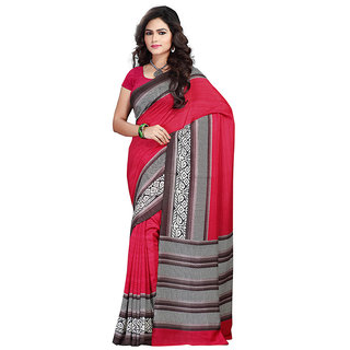FineFab Red Silk Crepe Casual Wear Embroidered Sarees With Blouse Piece