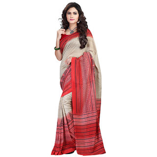 FineFab Cream Silk Crepe Casual Wear Embroidered Sarees With Blouse Piece