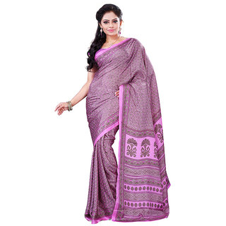 FineFab Pink  Brown Crepe Daily Wear Printed Sarees With Blouse Piece