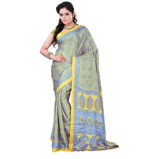 FineFab Yellow  Blue Crepe Daily Wear Printed Sarees With Blouse Piece