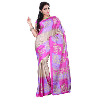 FineFab Multicolor Crepe Daily Wear Printed Sarees With Blouse Piece