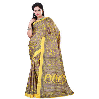 FineFab Yellow Crepe Daily Wear Printed Sarees With Blouse Piece