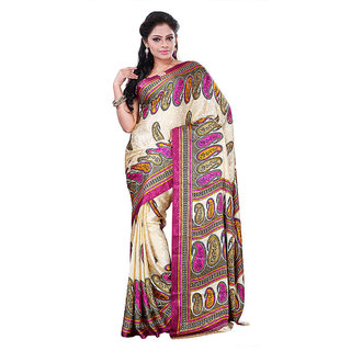 FineFab Cream  Crepe Daily Wear Printed Sarees With Blouse Piece
