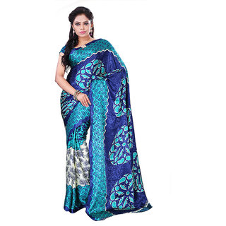 FineFab Cream  Green Crepe Daily Wear Printed Sarees With Blouse Piece